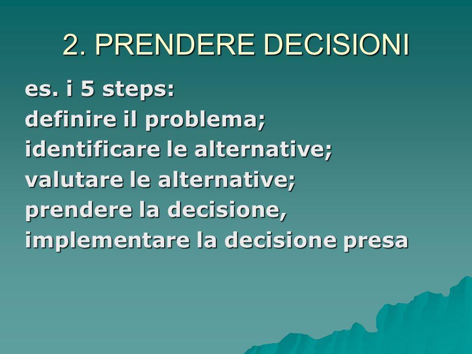 2. PRENDERE DECISIONI Quadro di riferimento normativo: Quadro di riferimento normativo: la presa di decisioni come processo razionale basato su analis