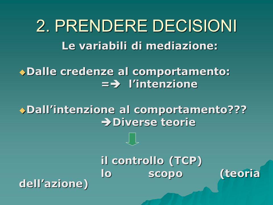 2. PRENDERE DECISIONI Nella vita quotidiana: Nella vita quotidiana: Rappresentazione incompleta o inadeguata del problema (focus selettivo) Rappresent