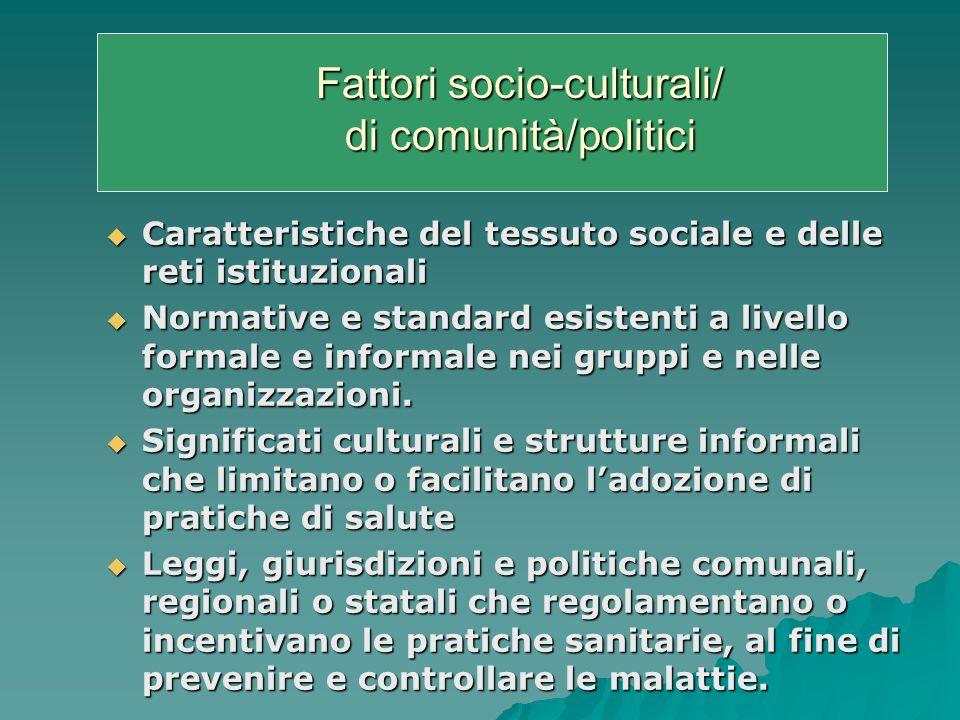 Fattori socio-culturali/ di comunità/politici Caratteristiche del tessuto sociale e delle reti istituzionali Caratteristiche del tessuto sociale e delle reti istituzionali Normative e standard esistenti a livello formale e informale nei gruppi e nelle organizzazioni.