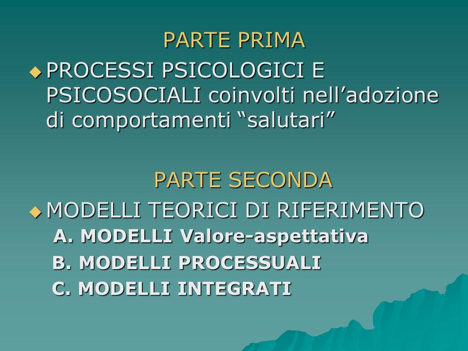 PARTE PRIMA PROCESSI PSICOLOGICI E PSICOSOCIALI coinvolti nelladozione di comportamenti salutari PROCESSI PSICOLOGICI E PSICOSOCIALI coinvolti nelladozione di comportamenti salutari PARTE SECONDA MODELLI TEORICI DI RIFERIMENTO A.