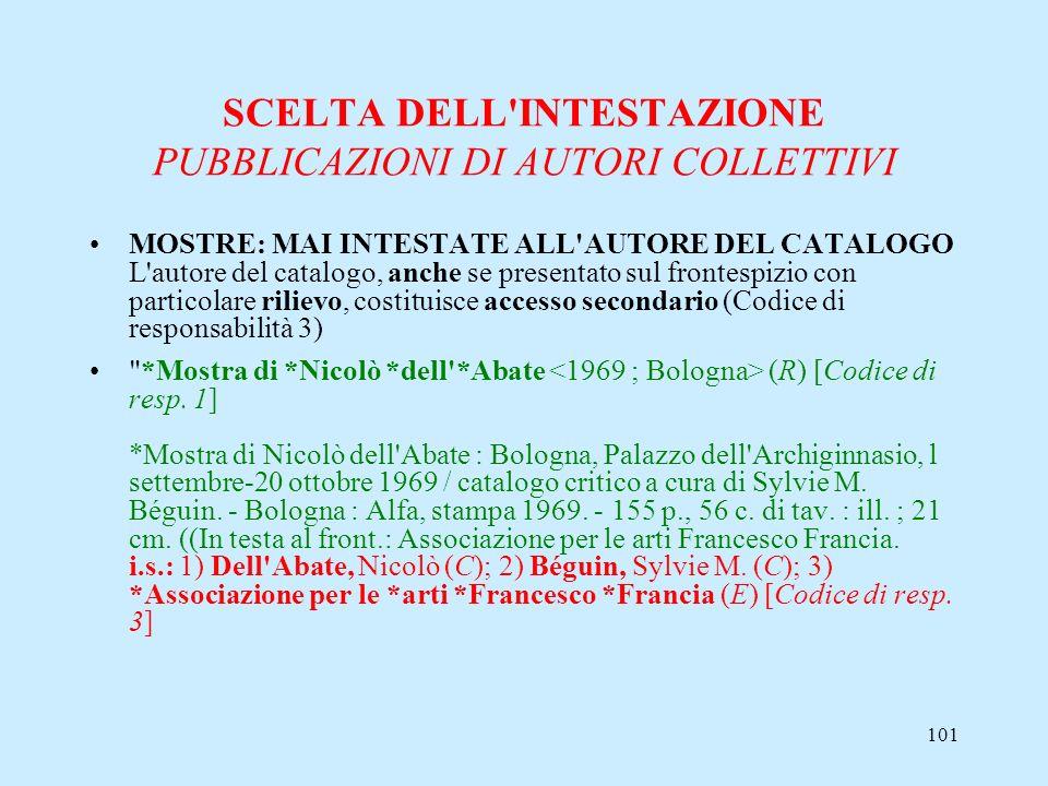 101 SCELTA DELL'INTESTAZIONE PUBBLICAZIONI DI AUTORI COLLETTIVI MOSTRE: MAI INTESTATE ALL'AUTORE DEL CATALOGO L'autore del catalogo, anche se presenta