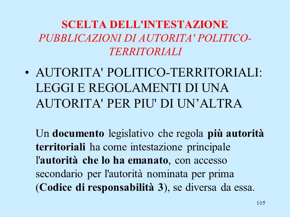105 SCELTA DELL'INTESTAZIONE PUBBLICAZIONI DI AUTORITA' POLITICO- TERRITORIALI AUTORITA' POLITICO-TERRITORIALI: LEGGI E REGOLAMENTI DI UNA AUTORITA' P