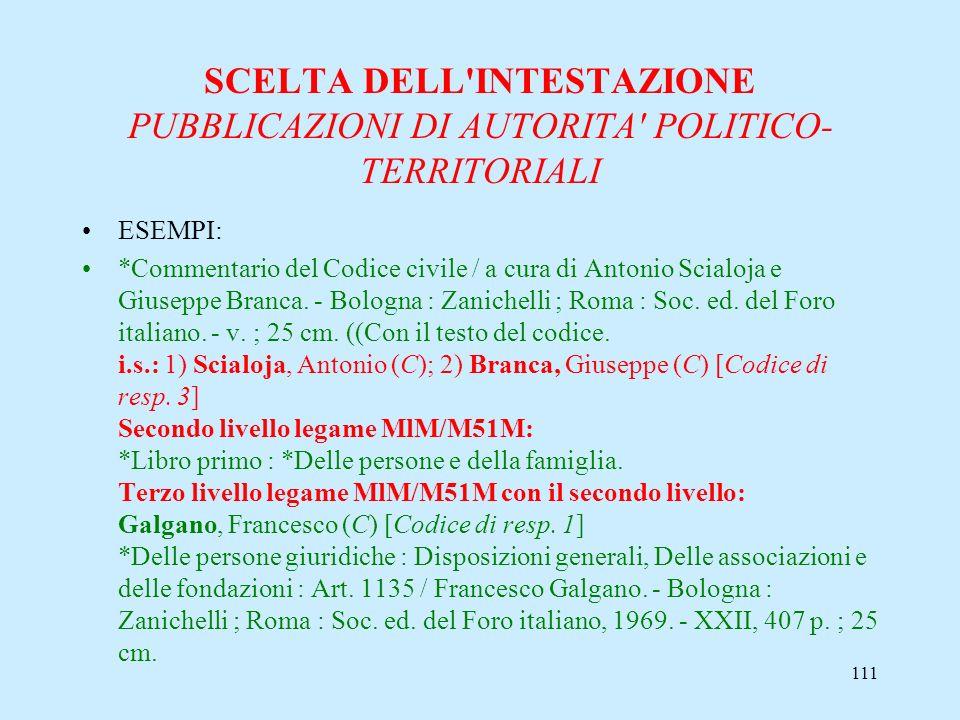 111 SCELTA DELL'INTESTAZIONE PUBBLICAZIONI DI AUTORITA' POLITICO- TERRITORIALI ESEMPI: *Commentario del Codice civile / a cura di Antonio Scialoja e G