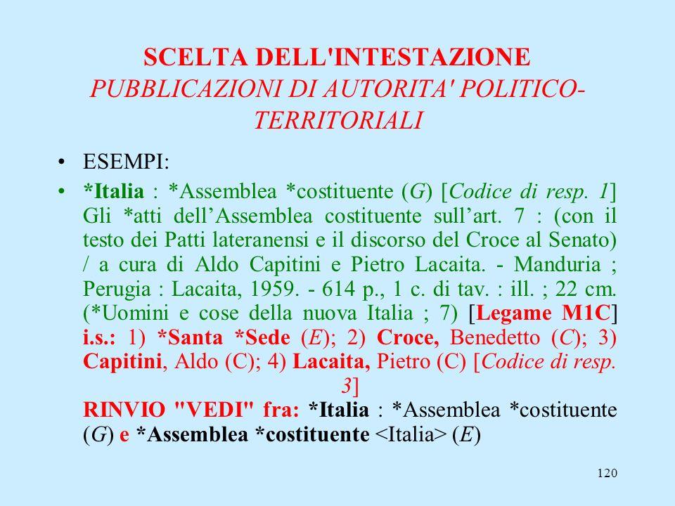 120 SCELTA DELL'INTESTAZIONE PUBBLICAZIONI DI AUTORITA' POLITICO- TERRITORIALI ESEMPI: *Italia : *Assemblea *costituente (G) [Codice di resp. 1] Gli *