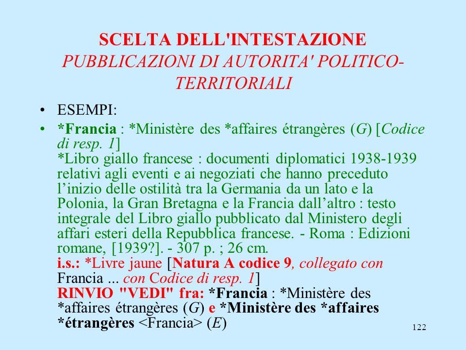 122 SCELTA DELL'INTESTAZIONE PUBBLICAZIONI DI AUTORITA' POLITICO- TERRITORIALI ESEMPI: *Francia : *Ministère des *affaires étrangères (G) [Codice di r