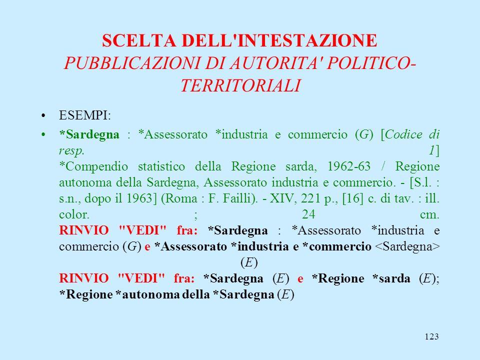 123 SCELTA DELL'INTESTAZIONE PUBBLICAZIONI DI AUTORITA' POLITICO- TERRITORIALI ESEMPI: *Sardegna : *Assessorato *industria e commercio (G) [Codice di