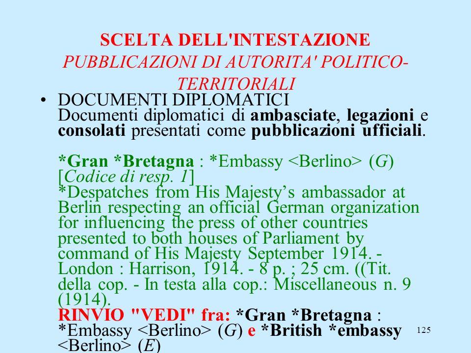 125 SCELTA DELL'INTESTAZIONE PUBBLICAZIONI DI AUTORITA' POLITICO- TERRITORIALI DOCUMENTI DIPLOMATICI Documenti diplomatici di ambasciate, legazioni e