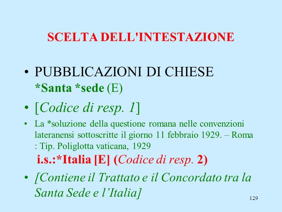 129 SCELTA DELL'INTESTAZIONE PUBBLICAZIONI DI CHIESE *Santa *sede (E) [Codice di resp. 1] La *soluzione della questione romana nelle convenzioni later