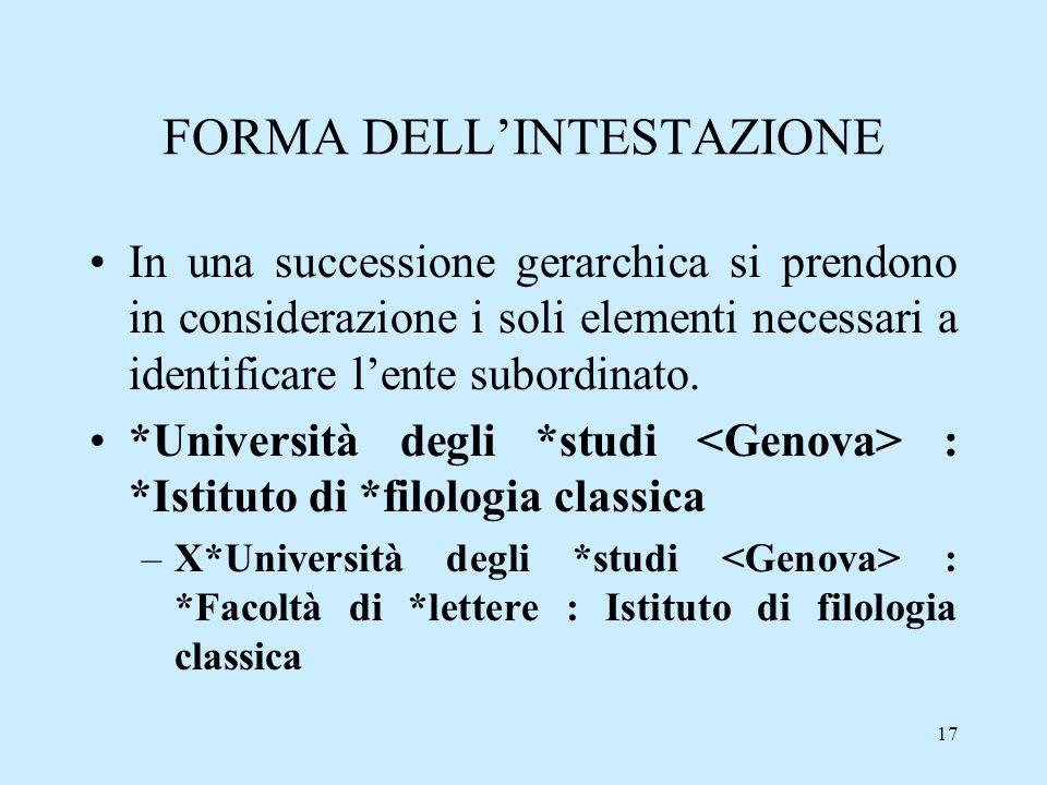 17 FORMA DELLINTESTAZIONE In una successione gerarchica si prendono in considerazione i soli elementi necessari a identificare lente subordinato. *Uni