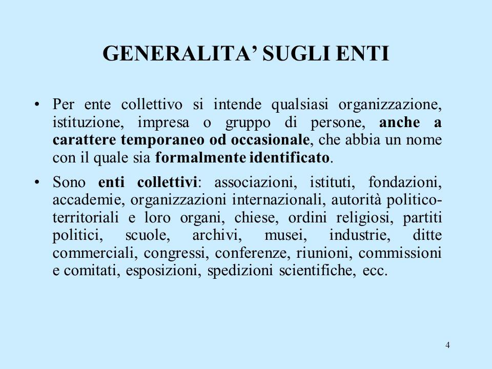 4 GENERALITA SUGLI ENTI Per ente collettivo si intende qualsiasi organizzazione, istituzione, impresa o gruppo di persone, anche a carattere temporane