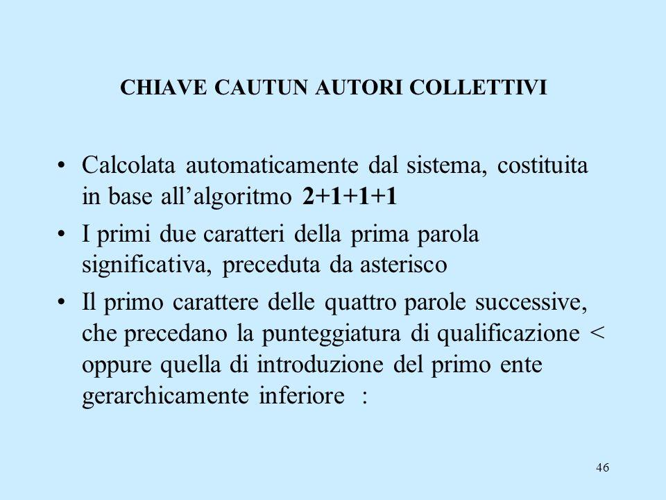 46 CHIAVE CAUTUN AUTORI COLLETTIVI Calcolata automaticamente dal sistema, costituita in base allalgoritmo 2+1+1+1 I primi due caratteri della prima pa