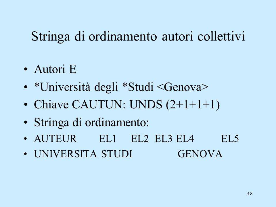 48 Stringa di ordinamento autori collettivi Autori E *Università degli *Studi Chiave CAUTUN: UNDS (2+1+1+1) Stringa di ordinamento: AUTEUR EL1 EL2 EL3