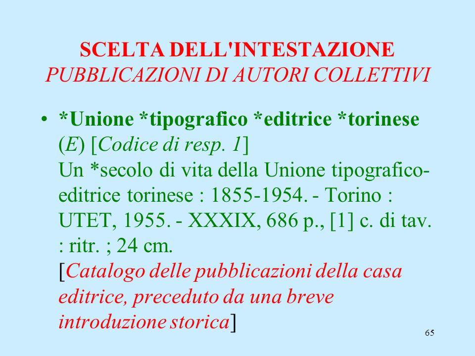 65 SCELTA DELL'INTESTAZIONE PUBBLICAZIONI DI AUTORI COLLETTIVI *Unione *tipografico *editrice *torinese (E) [Codice di resp. 1] Un *secolo di vita del