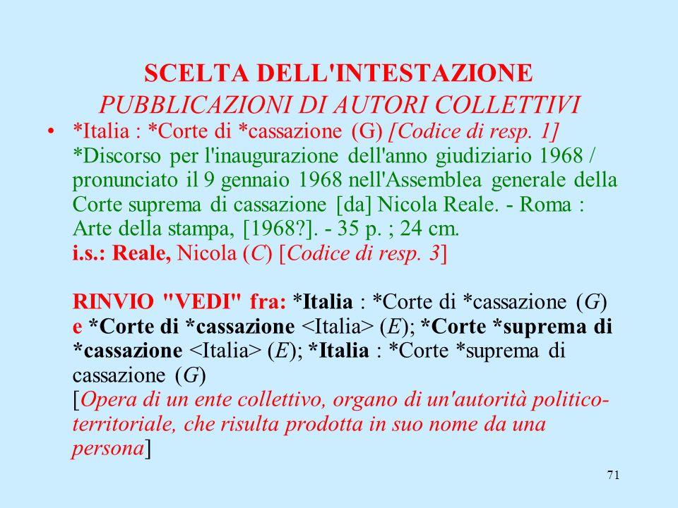 71 SCELTA DELL'INTESTAZIONE PUBBLICAZIONI DI AUTORI COLLETTIVI *Italia : *Corte di *cassazione (G) [Codice di resp. 1] *Discorso per l'inaugurazione d