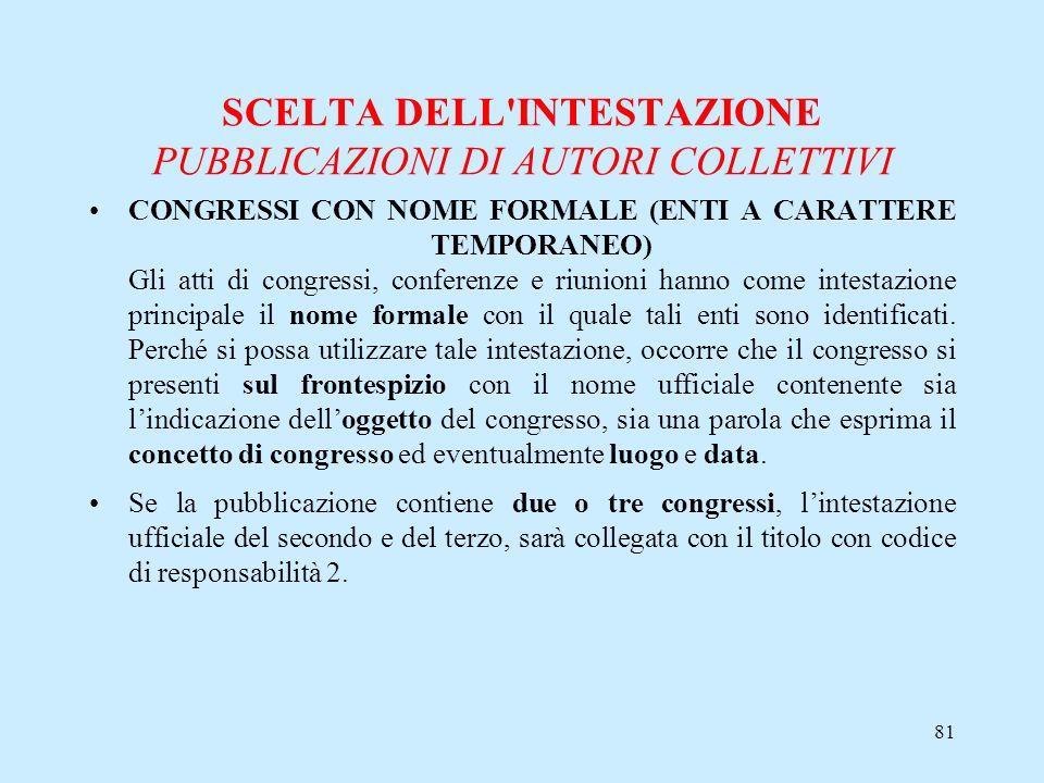 81 SCELTA DELL'INTESTAZIONE PUBBLICAZIONI DI AUTORI COLLETTIVI CONGRESSI CON NOME FORMALE (ENTI A CARATTERE TEMPORANEO) Gli atti di congressi, confere