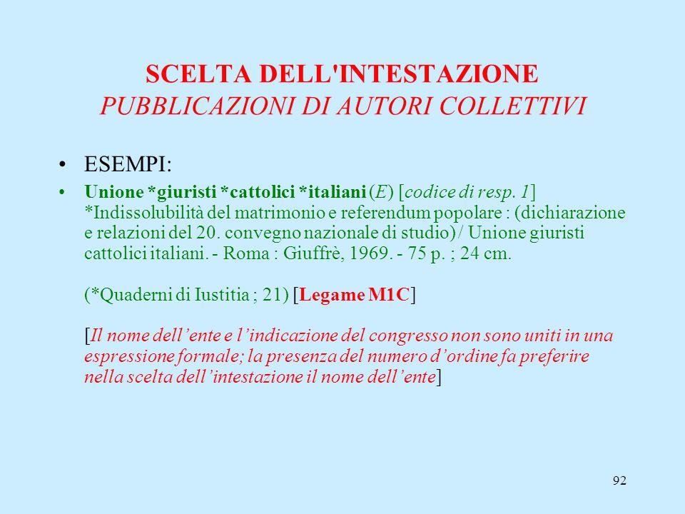 92 SCELTA DELL'INTESTAZIONE PUBBLICAZIONI DI AUTORI COLLETTIVI ESEMPI: Unione *giuristi *cattolici *italiani (E) [codice di resp. 1] *Indissolubilità