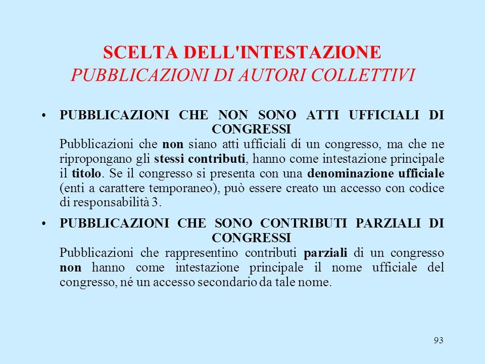 93 SCELTA DELL'INTESTAZIONE PUBBLICAZIONI DI AUTORI COLLETTIVI PUBBLICAZIONI CHE NON SONO ATTI UFFICIALI DI CONGRESSI Pubblicazioni che non siano atti