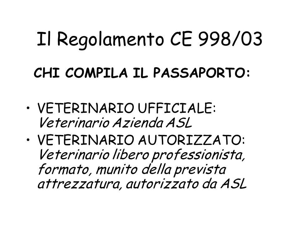 Il Regolamento CE 998/03 Art.14: il proprietario o persona responsabile deve presentare il passaporto, ed eventualmente il lettore, se identificato co