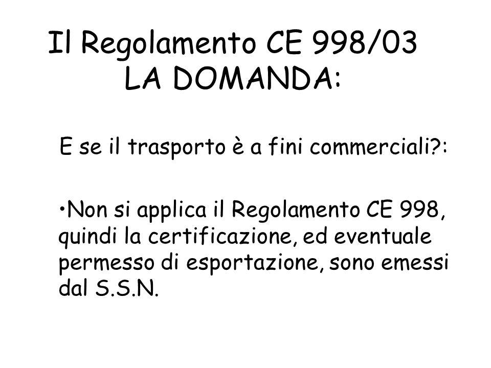 Il Regolamento CE 998/03 LA DOMANDA: Per quanto tempo vale il passaporto? Il passaporto in se non ha validità, ma certifica la validità dei requisiti