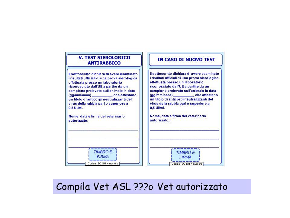 Deve essere espressa la validità della vaccinazione 12 mesi Compila Vet ASL (previo accertamento) o VET L.P. Autorizzato