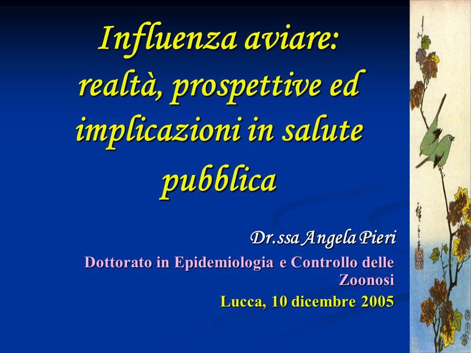 Influenza aviare: realtà, prospettive ed implicazioni in salute pubblica Dr.ssa Angela Pieri Dottorato in Epidemiologia e Controllo delle Zoonosi Lucc