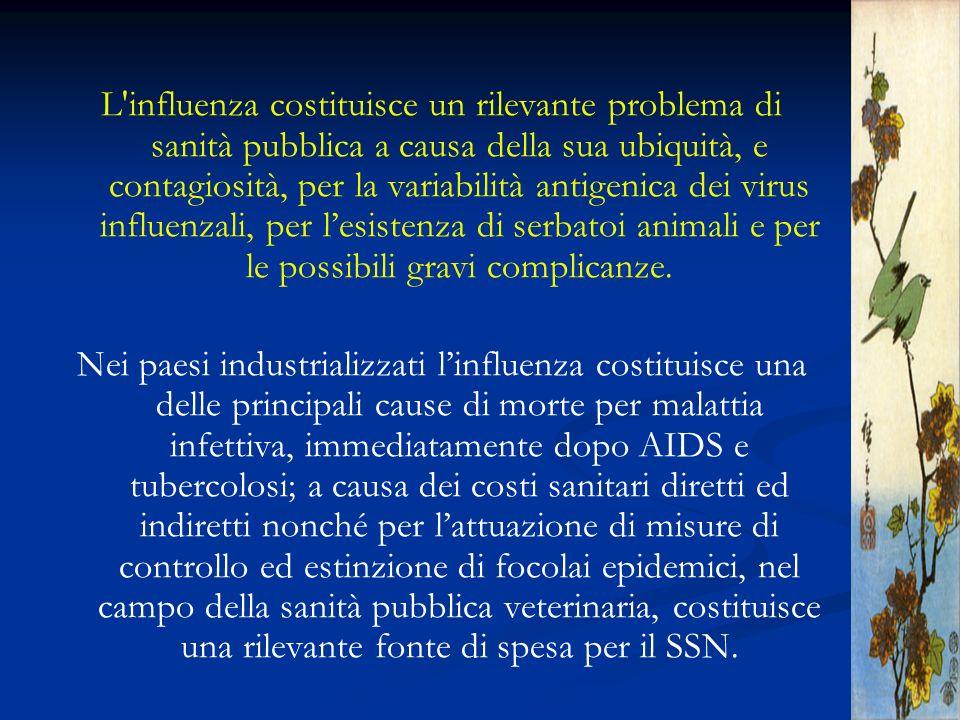 L'influenza costituisce un rilevante problema di sanità pubblica a causa della sua ubiquità, e contagiosità, per la variabilità antigenica dei virus i