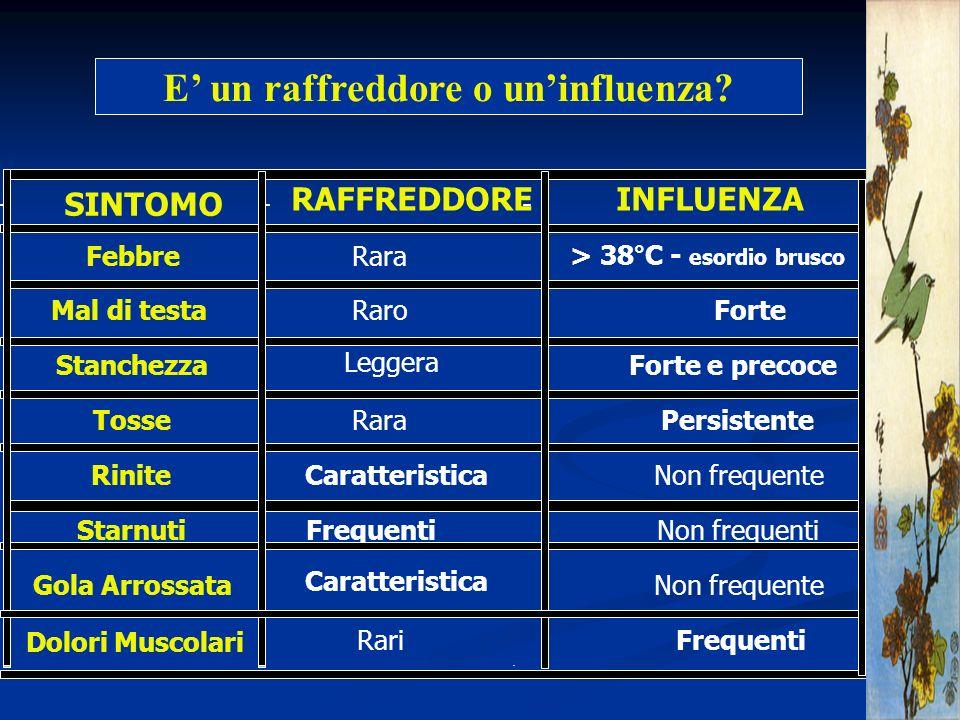 SINTOMO RAFFREDDOREINFLUENZA FebbreRara> 38°C - esordio brusco Mal di testaRaroForte Stanchezza Leggera Forte e precoce TosseRaraPersistente Rinite Ca