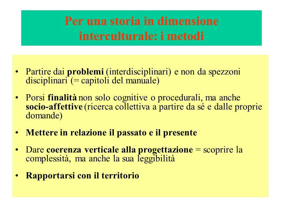 Per una storia in dimensione interculturale: i metodi Partire dai problemi (interdisciplinari) e non da spezzoni disciplinari (= capitoli del manuale)