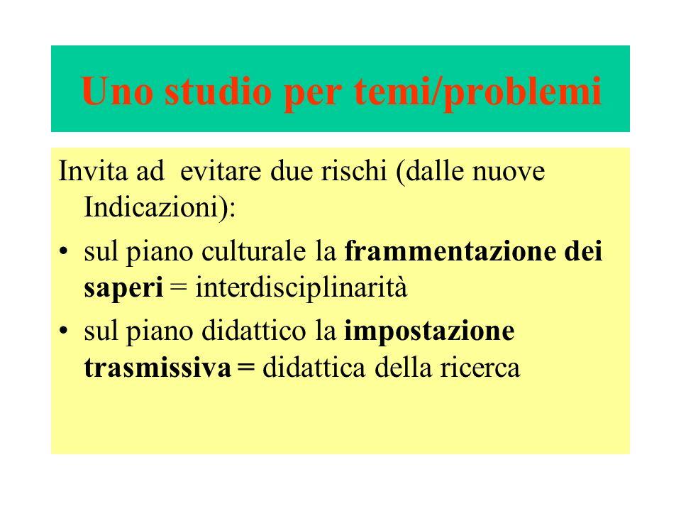Uno studio per temi/problemi Invita ad evitare due rischi (dalle nuove Indicazioni): sul piano culturale la frammentazione dei saperi = interdisciplin