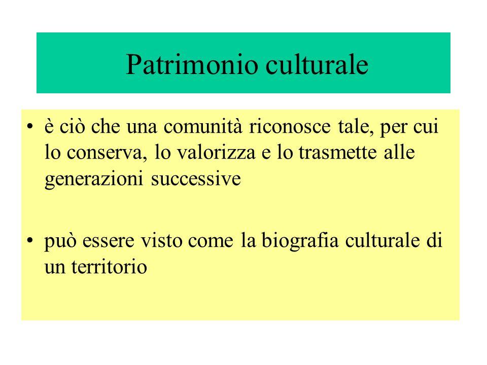 Patrimonio culturale è ciò che una comunità riconosce tale, per cui lo conserva, lo valorizza e lo trasmette alle generazioni successive può essere vi