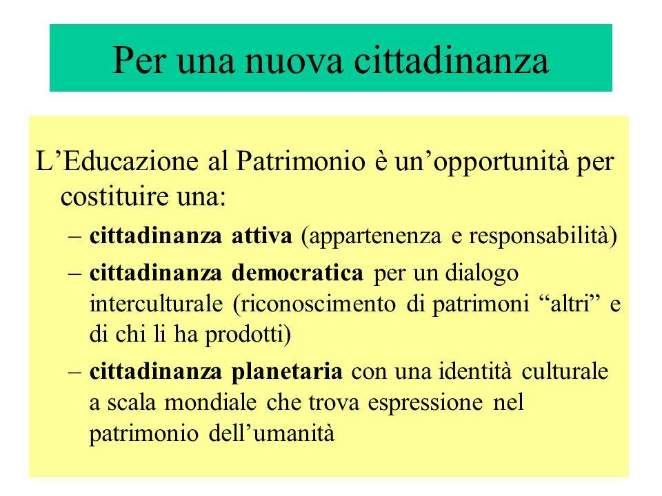 Per una nuova cittadinanza LEducazione al Patrimonio è unopportunità per costituire una: –cittadinanza attiva (appartenenza e responsabilità) –cittadi