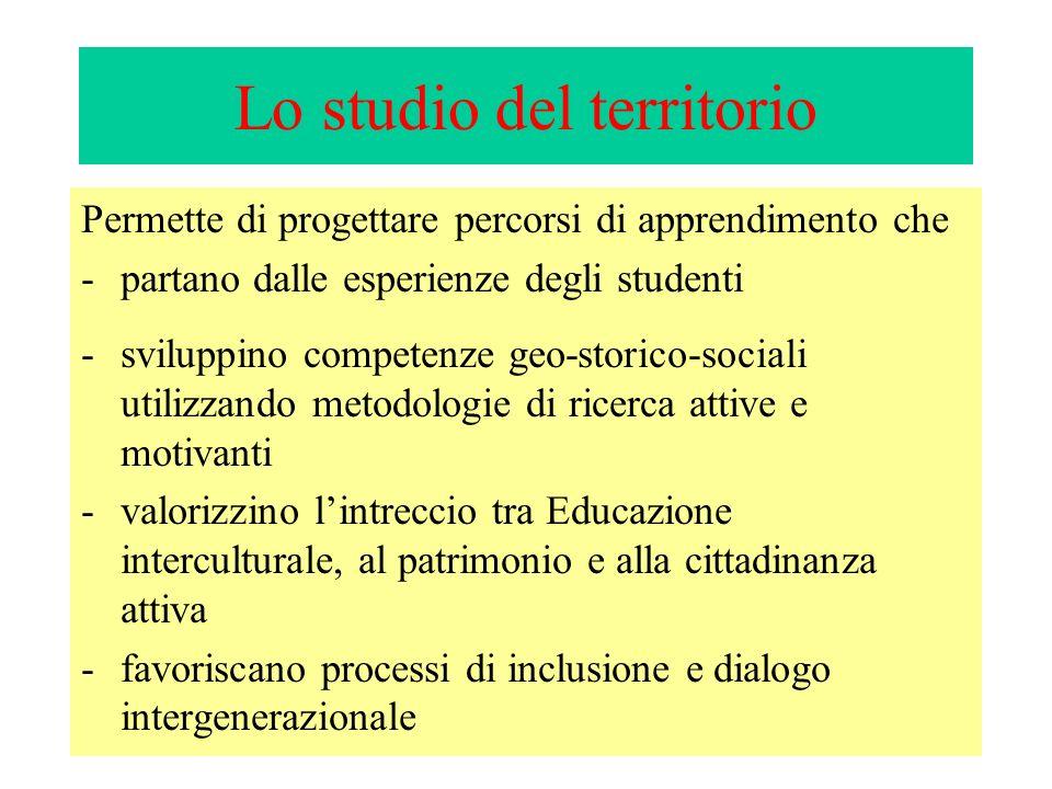 Lo studio del territorio Permette di progettare percorsi di apprendimento che -partano dalle esperienze degli studenti -sviluppino competenze geo-stor