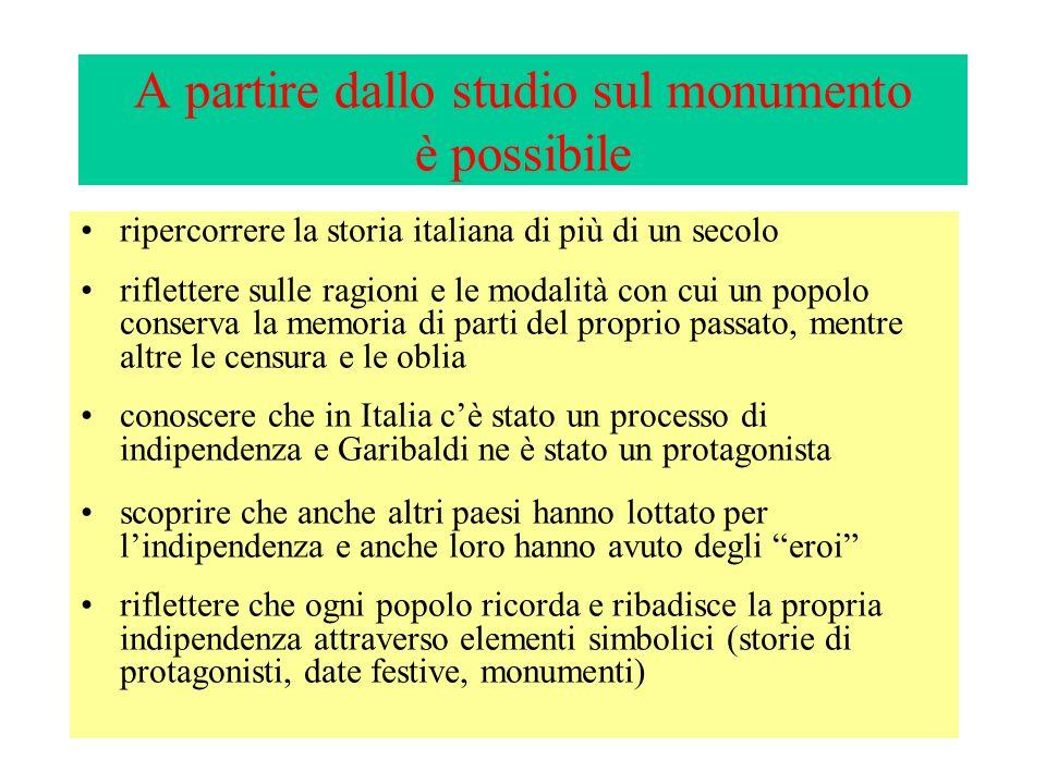 A partire dallo studio sul monumento è possibile ripercorrere la storia italiana di più di un secolo riflettere sulle ragioni e le modalità con cui un