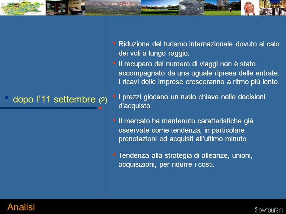 dopo l11 settembre (2) Riduzione del turismo internazionale dovuto al calo dei voli a lungo raggio.