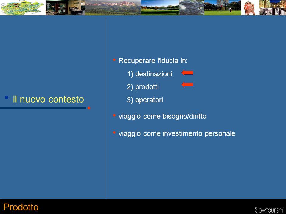 il nuovo contesto Recuperare fiducia in: 1) destinazioni 2) prodotti 3) operatori viaggio come bisogno/diritto viaggio come investimento personale Prodotto