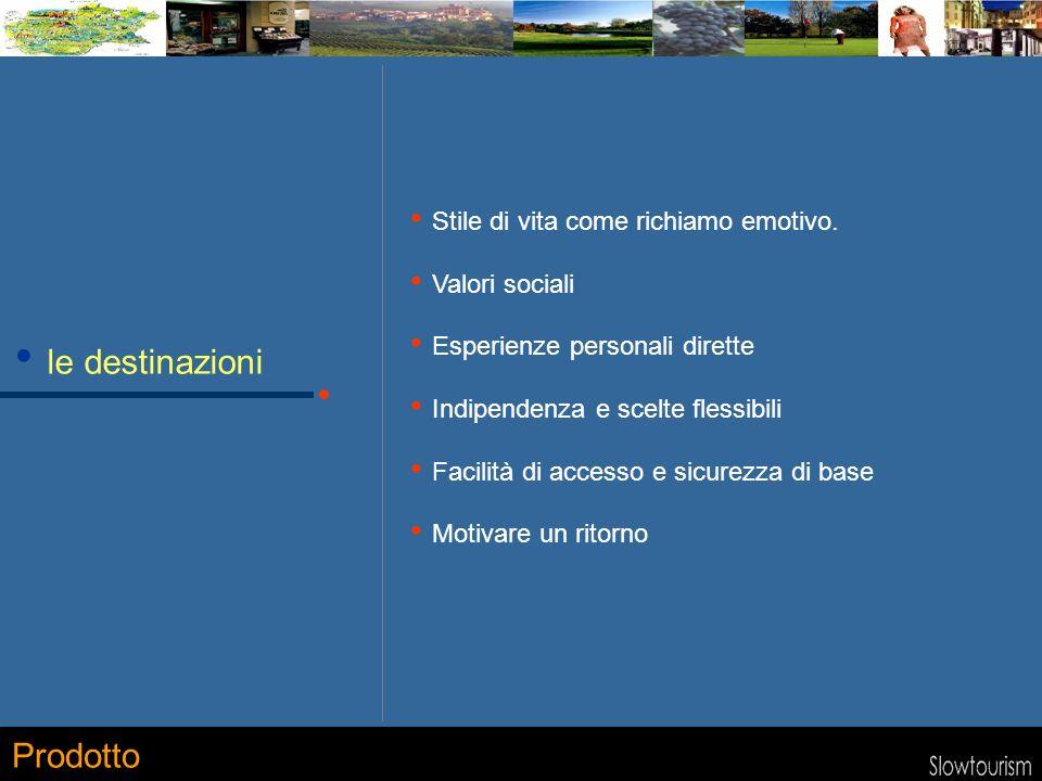 le destinazioni Stile di vita come richiamo emotivo. Valori sociali Esperienze personali dirette Indipendenza e scelte flessibili Facilità di accesso