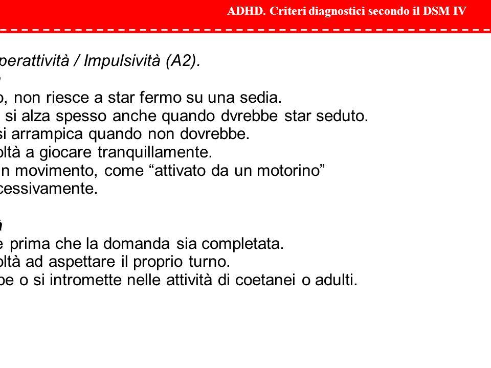 ADHD. Criteri diagnostici secondo il DSM IV Sintomi di Iperattività / Impulsività (A2). Iperattività 1. Irrequieto, non riesce a star fermo su una sed