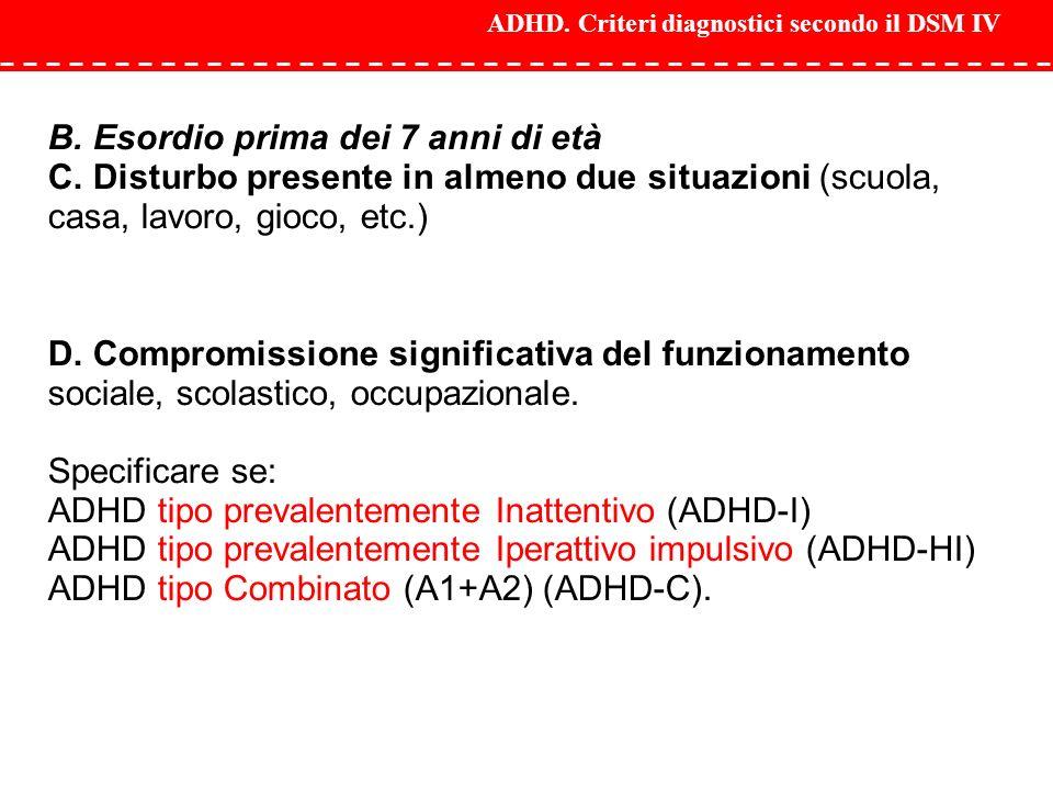 ADHD. Criteri diagnostici secondo il DSM IV B. Esordio prima dei 7 anni di età C. Disturbo presente in almeno due situazioni (scuola, casa, lavoro, gi