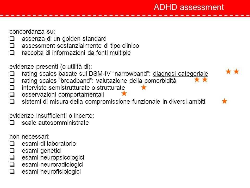 ADHD assessment concordanza su: assenza di un golden standard assessment sostanzialmente di tipo clinico raccolta di informazioni da fonti multiple ev
