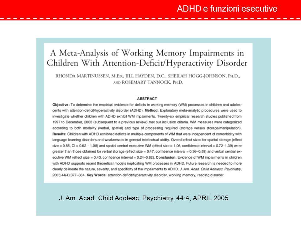 ADHD e funzioni esecutive J. Am. Acad. Child Adolesc. Psychiatry, 44:4, APRIL 2005