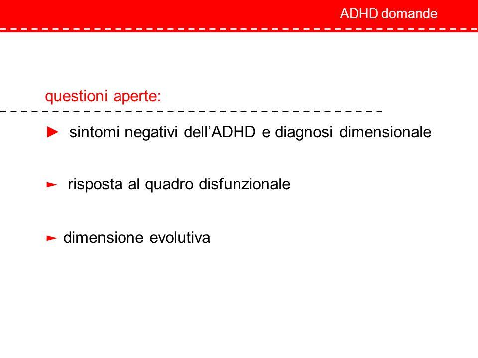 ADHD domande questioni aperte: sintomi negativi dellADHD e diagnosi dimensionale risposta al quadro disfunzionale dimensione evolutiva