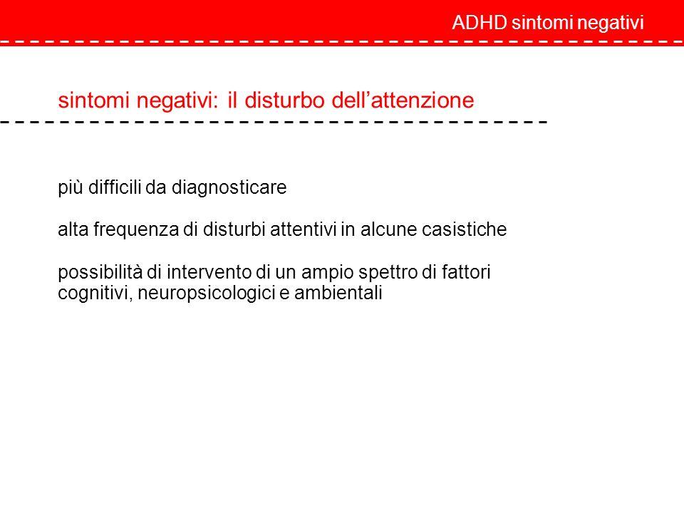ADHD sintomi negativi sintomi negativi: il disturbo dellattenzione più difficili da diagnosticare alta frequenza di disturbi attentivi in alcune casis