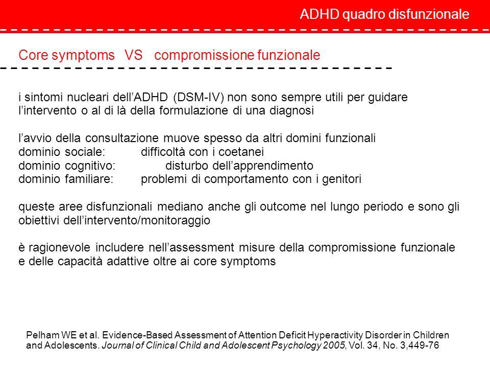 ADHD quadro disfunzionale Core symptoms VS compromissione funzionale i sintomi nucleari dellADHD (DSM-IV) non sono sempre utili per guidare lintervent
