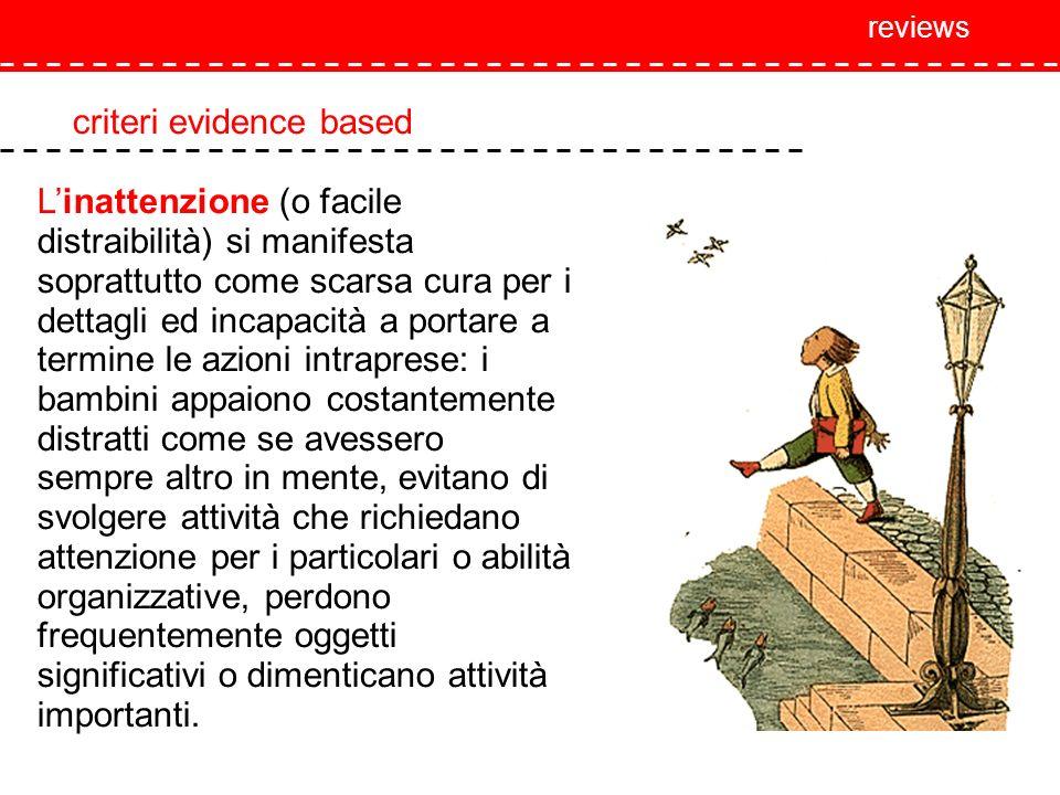 reviews criteri evidence based Linattenzione (o facile distraibilità) si manifesta soprattutto come scarsa cura per i dettagli ed incapacità a portare