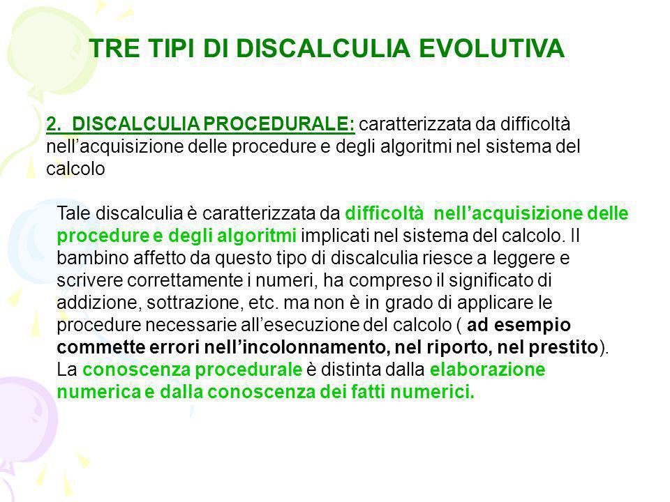 TRE TIPI DI DISCALCULIA EVOLUTIVA 1: DISLESSIA PER LE CIFRE: caratterizzata da difficoltà nellacquisizione dei processi lessicali sia nel sistema di c