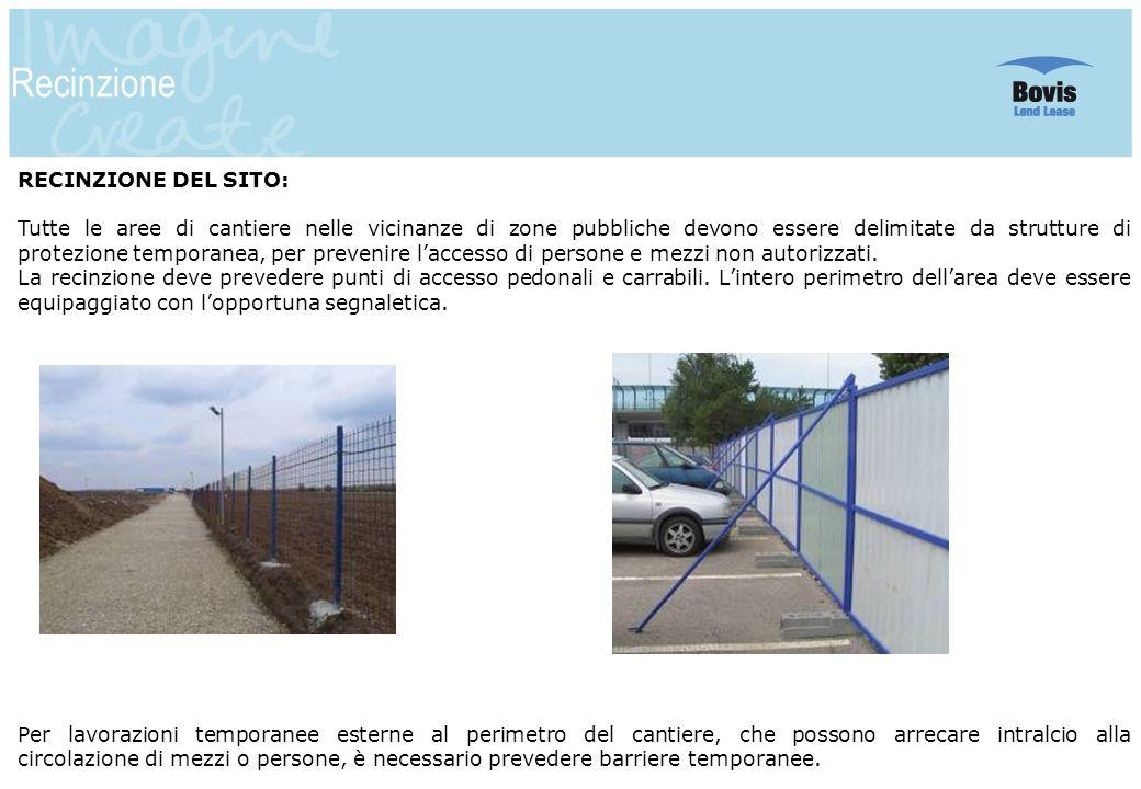 11 Recinzione RECINZIONE DEL SITO: Tutte le aree di cantiere nelle vicinanze di zone pubbliche devono essere delimitate da strutture di protezione tem