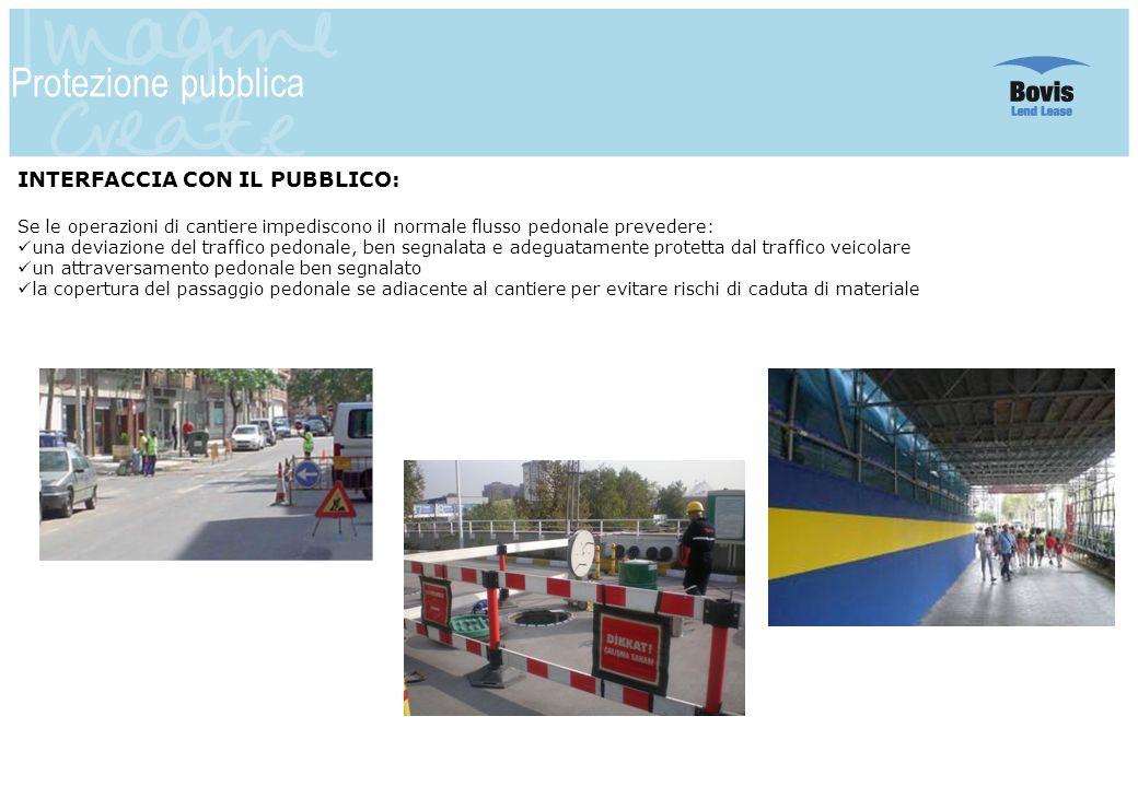 6 Protezione pubblica INTERFACCIA CON IL PUBBLICO: Se le operazioni di cantiere impediscono il normale flusso pedonale prevedere: una deviazione del t
