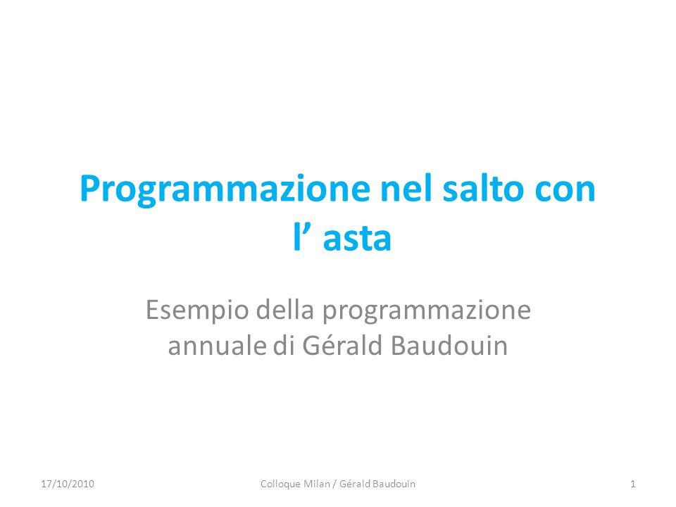 Programmazione nel salto con l asta Esempio della programmazione annuale di Gérald Baudouin 17/10/20101Colloque Milan / Gérald Baudouin