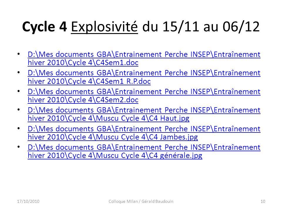 Cycle 4 Explosivité du 15/11 au 06/12 D:\Mes documents GBA\Entrainement Perche INSEP\Entraînement hiver 2010\Cycle 4\C4Sem1.doc D:\Mes documents GBA\Entrainement Perche INSEP\Entraînement hiver 2010\Cycle 4\C4Sem1.doc D:\Mes documents GBA\Entrainement Perche INSEP\Entraînement hiver 2010\Cycle 4\C4Sem1 R.P.doc D:\Mes documents GBA\Entrainement Perche INSEP\Entraînement hiver 2010\Cycle 4\C4Sem1 R.P.doc D:\Mes documents GBA\Entrainement Perche INSEP\Entraînement hiver 2010\Cycle 4\C4Sem2.doc D:\Mes documents GBA\Entrainement Perche INSEP\Entraînement hiver 2010\Cycle 4\C4Sem2.doc D:\Mes documents GBA\Entrainement Perche INSEP\Entraînement hiver 2010\Cycle 4\Muscu Cycle 4\C4 Haut.jpg D:\Mes documents GBA\Entrainement Perche INSEP\Entraînement hiver 2010\Cycle 4\Muscu Cycle 4\C4 Haut.jpg D:\Mes documents GBA\Entrainement Perche INSEP\Entraînement hiver 2010\Cycle 4\Muscu Cycle 4\C4 Jambes.jpg D:\Mes documents GBA\Entrainement Perche INSEP\Entraînement hiver 2010\Cycle 4\Muscu Cycle 4\C4 Jambes.jpg D:\Mes documents GBA\Entrainement Perche INSEP\Entraînement hiver 2010\Cycle 4\Muscu Cycle 4\C4 générale.jpg D:\Mes documents GBA\Entrainement Perche INSEP\Entraînement hiver 2010\Cycle 4\Muscu Cycle 4\C4 générale.jpg 17/10/2010Colloque Milan / Gérald Baudouin10