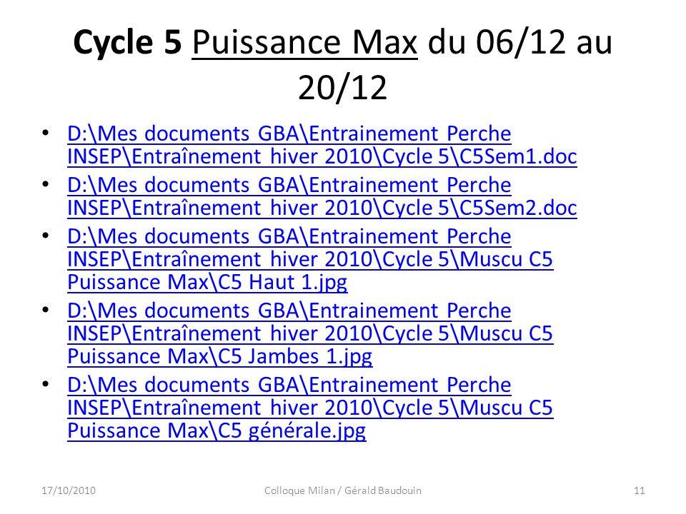 Cycle 5 Puissance Max du 06/12 au 20/12 D:\Mes documents GBA\Entrainement Perche INSEP\Entraînement hiver 2010\Cycle 5\C5Sem1.doc D:\Mes documents GBA\Entrainement Perche INSEP\Entraînement hiver 2010\Cycle 5\C5Sem1.doc D:\Mes documents GBA\Entrainement Perche INSEP\Entraînement hiver 2010\Cycle 5\C5Sem2.doc D:\Mes documents GBA\Entrainement Perche INSEP\Entraînement hiver 2010\Cycle 5\C5Sem2.doc D:\Mes documents GBA\Entrainement Perche INSEP\Entraînement hiver 2010\Cycle 5\Muscu C5 Puissance Max\C5 Haut 1.jpg D:\Mes documents GBA\Entrainement Perche INSEP\Entraînement hiver 2010\Cycle 5\Muscu C5 Puissance Max\C5 Haut 1.jpg D:\Mes documents GBA\Entrainement Perche INSEP\Entraînement hiver 2010\Cycle 5\Muscu C5 Puissance Max\C5 Jambes 1.jpg D:\Mes documents GBA\Entrainement Perche INSEP\Entraînement hiver 2010\Cycle 5\Muscu C5 Puissance Max\C5 Jambes 1.jpg D:\Mes documents GBA\Entrainement Perche INSEP\Entraînement hiver 2010\Cycle 5\Muscu C5 Puissance Max\C5 générale.jpg D:\Mes documents GBA\Entrainement Perche INSEP\Entraînement hiver 2010\Cycle 5\Muscu C5 Puissance Max\C5 générale.jpg 17/10/2010Colloque Milan / Gérald Baudouin11
